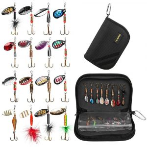 Plusinno Spinner Fishing Lures with Storage Bag