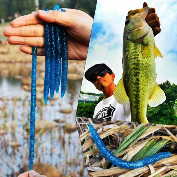10pcs Plastic Fishing Worm Bait