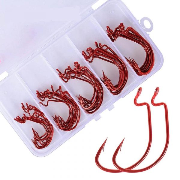 50 Pieces Carbon Steel Fishing Hooks with Box