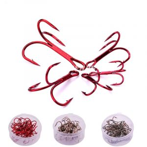 20 Pieces Red High Carbon Steel Hooks