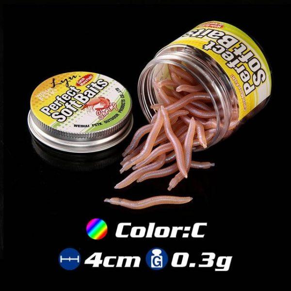 50 Soft Realistic Earthworm Bait