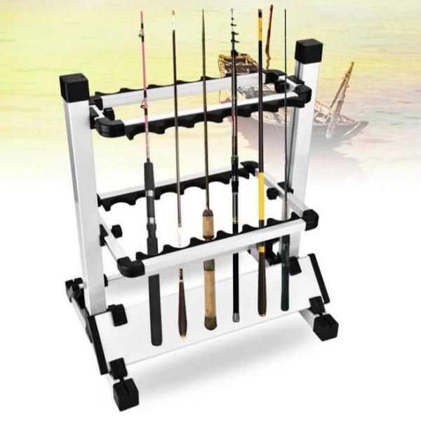 12 Slot Aluminum Alloy Fishing Rod Rack