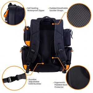 Fishing Backpack with Tackle Boxes Pliers & Waterproof Protective Rain Cover