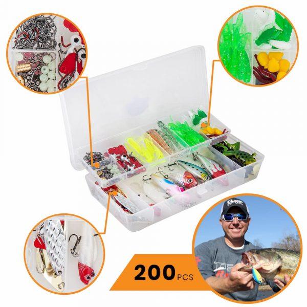 etacklepro Telescopic Fishing Rod and Reel Combo   Full Fishing Kit 200Pc Tackle Box, Fishing Line, Gear Bag   Saltwater & Freshwater Fishing Set (Fishing Rod & Reel Combo, 2.1M - 6.89FT)